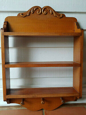 Antique Wooden Display Cabinet with Two Wood Shelves