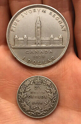 Cleaned Lot Of 2 Coins 1939 Canada Silver Dollar & 1910 Canadian Silver 25 Cents