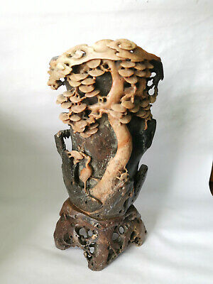 Antique Chinese Carved Soap Stone Vase with Bird and Flowers (It is Detailed)