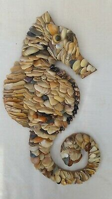 "Vintage Handmade 13 x 7"" Beige/Brown Seashell covered Seahorse Wall-hanging"