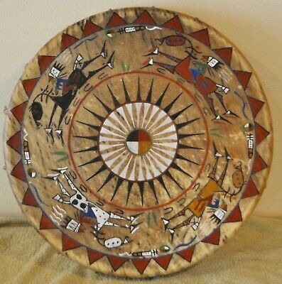 """A Good Day /  20"""" Native Drum Painted By Lakota Artist Sonja Holy Eagle"""