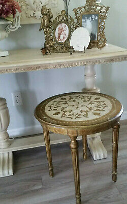 Antique ITALIAN Florentine Accent Table WOOD Gold Gilt Shabby Hollywood Regency