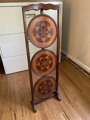 Antique 3 Tier Muffin Stand with Beautiful Inlay  Design