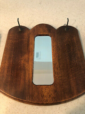 Antique Wooden Mirror And Brush Set Excellent Condition