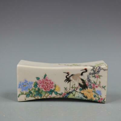 Qianlong Years Collect China Color Porcelain Painting Flowers Crane Royal Pillow
