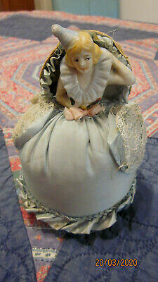 vintage  hand painted PORCELAIN HALF DOLL, LADIES BOUDOIR VANITY PIN CUSHION