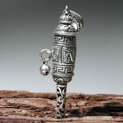 Collect China Culture Old Miao Silver Hand-Carved Auspicious Decorate Pendant