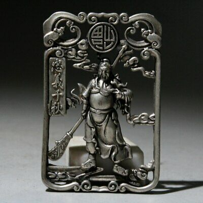 Collect Chinese Old Miao Silver Hand-Carved Hollow Out Guanyu Luck Noble Pendant