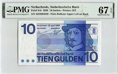 Netherlands 1968 P-91b PMG Superb Gem UNC 67 EPQ 10 Gulden