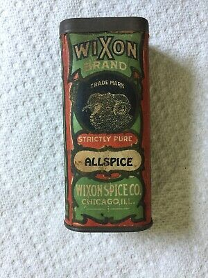 Vintage Wixon Spice Tin Allspice Ram Paper Label Chicago Red & Green