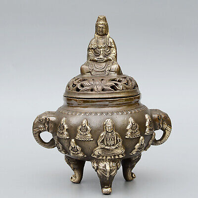 Collectable China Old Copper Hand-Carved Auspicious Kwan-yin Rare Incense Burner