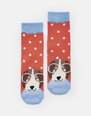 Joules Girls Neat Feet Character Socks - PINK SPOT DOG Size Size 13-3