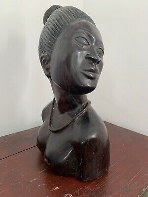 Female African Figure Bust Carving Topless