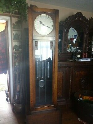 1930s Enfield oak grandfather Art Deco longcase Clock 3 chrom weights working