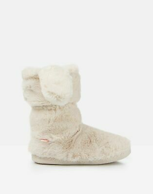 Joules Girls Padabout Luxe Slipper Socks - CREAM Size XL