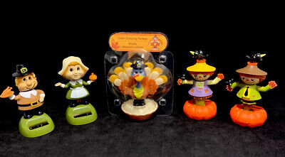 New Solar Powered Dancing Toy Bobble Head THANKSGIVING PILGRIM GIRL
