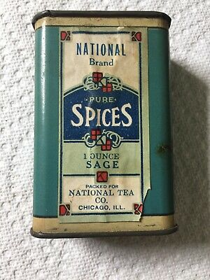 Vintage National Brand Pure Spices Sage Tin Litho Chicago Paper Label