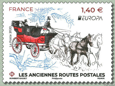 France 2020 europa cept Ancient Postal Routes diligence Horse carriage 1v mnh