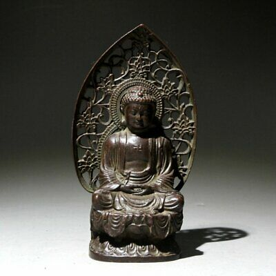 Collectable China Old Copper Handwork Carve Solemn Buddha Lotus Exorcist Statue