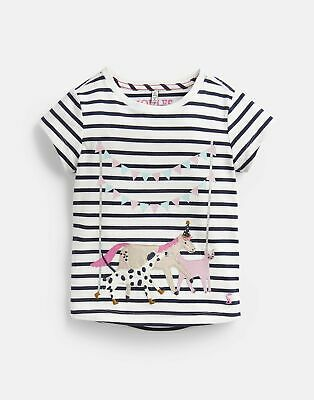 Joules Girls Astra Applique T Shirt  - CREAM STRIPE ANIMALS Size 5yr