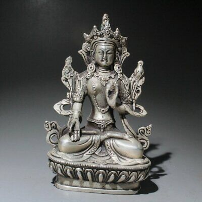 Collection Qianlong Years Old Miao Silver Hand-Carved Kwan-yin Auspicious Statue