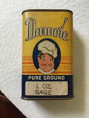 Vintage Damore Pure Ground Sage Spice Tin Paper Label