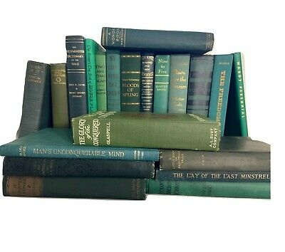 Lot 5 GREEN/ Shades of GREEN Old Vintage Antique Decor Hardcover Random Books
