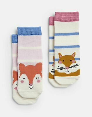 Joules Baby Girls Neat Feet   2 Pack Character Socks -  Size 0m-6m