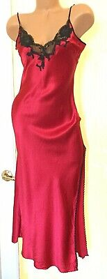 Victorias Secret SILK Red Black Lace Long Night Gown SMALL VINTAGE NEW WITH TAGS