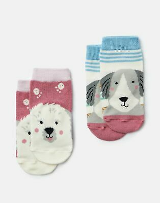 Joules Baby Girls Neat Feet 2 Pack Character Socks - MULTI DOGS Size 2yr-3yr