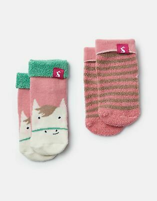 Joules Baby Girls Terry 2 Pack Socks - PINK HORSE STRIPE Size 0m-6m