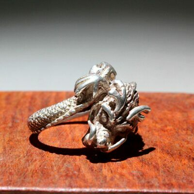 Collectable China Miao Silver Hand-Carved Delicate Dragon Interesting Chic Ring
