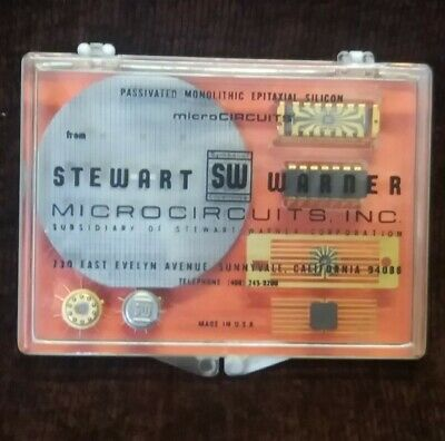 Vintage Stewart Warner Microcircuits Paperweight  Semiconductor Chip Fabrication