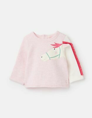 Joules Baby Girls Dash Applique Sweatshirt - PINK HORSE Size 18m-24m