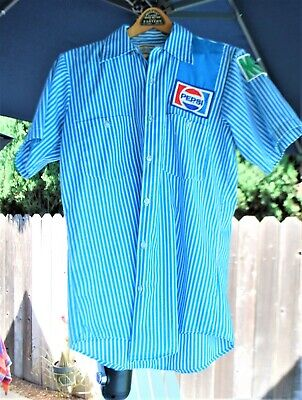 Vtg Pepsi Employee Delivery Driver Stripe Work Shirt Small Mountain Dew Sleeve