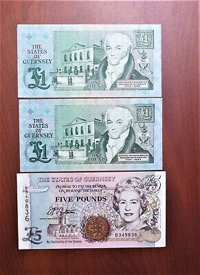 Lot of 3 Notes: The States of Guernsey 1991 Two 1 Pound & one 1996 5 pounds – AU