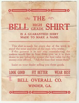 Early 1900s Bell Shirt package insert, Bell Overall Co., Winder, Georgia