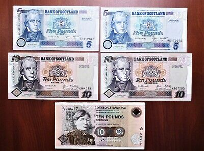 Lot of 5 1998 Bank of Scotland & Clydesdale Bank A/U – (2) 5 & (3) 10 Pounds
