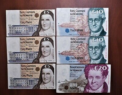 Lot of 5 Central Bank of Ireland: 5 & 10 & 20 Pounds - Almost Uncirculated