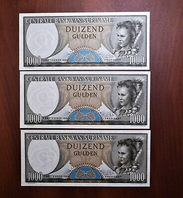 Lot of 3 1963 Uncirculated, Low Consecutive S/N Suriname 1,000 Gulden, pick 124