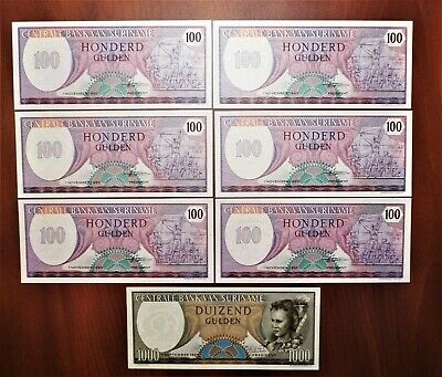 Lot of 7 Crisp, Uncirculated  Suriname Notes – six 100 and one 1000 Gulden