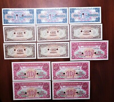 Lot Of 13 British Armed Forces Special Vouchers 1 to 10 Shilling Vouchers – UNC