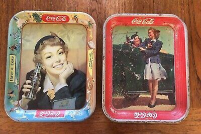 Two Vintage CokeCoca Cola Metal Trays 1942 and 1950's