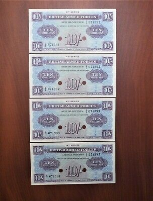 Lot of 4 Consecutive No. British Armed Forces 10 Shillings Special Vouchers UNC