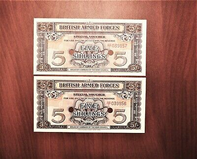 Lot of 2 Consecutive No. British Armed Forces 5 Shillings Special Vouchers – UNC