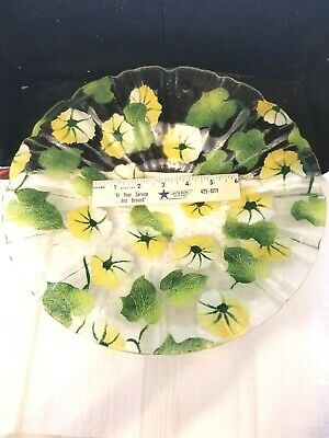Amazing Large Hand Painted Glass Serving Plate Bowl Flowers