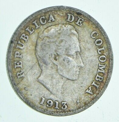 SILVER - Roughly Size of Dime - 1913 Colombia 10 Centavos World Silver Coin *528
