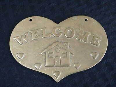 "Solid Brass Heart-Shaped WELCOME Door/Wall Plaque, Wall Hanging, 5"", Free Ship"