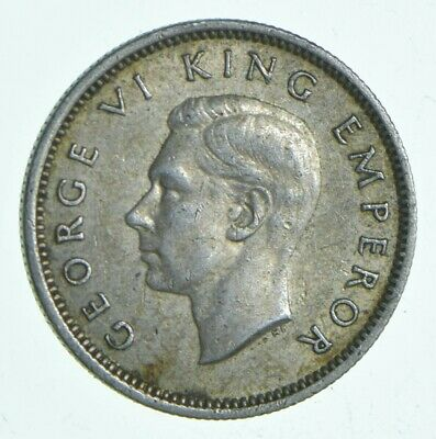 SILVER - Roughly Size of Dime - 1939 New Zealand 6 Pence World Silver Coin *579