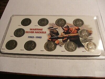 1 - Set(11) Jefferson Wartime Nickels 1942-45S ( 35% ) Silver in holder # 77